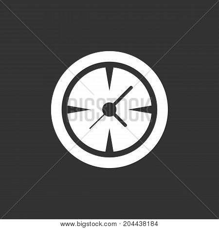 Clock icon isolated on black background. Clock vector logo. Flat design style. Modern vector pictogram for web graphics - stock vector