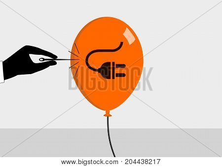 Concept of declining energy prices and energy crisis. Vector illustration in flat design of needle bursting the bubble.