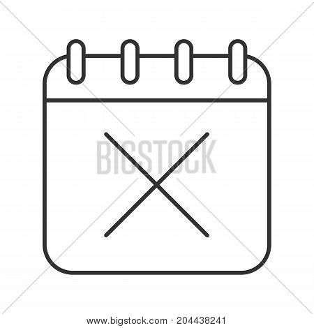 Calendar page with cross linear icon. Thin line illustration. Delete contour symbol. Vector isolated outline drawing