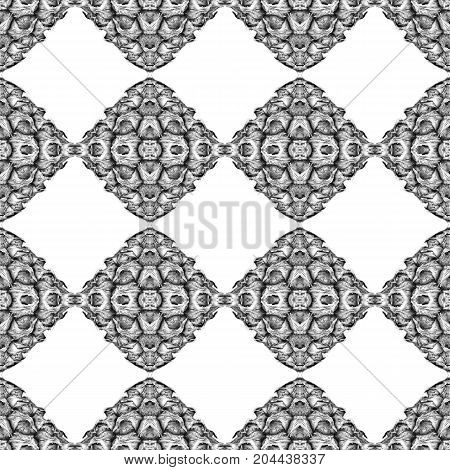 Abstract symmetrical black and white texture with chequer design shape; - seamless, repeatable pattern