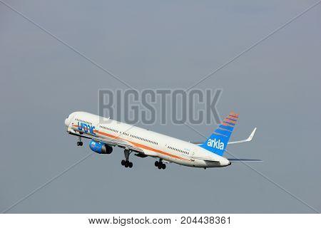 Amsterdam the Netherlands - June 2nd 2017: 4X-BAU Arkia - Israeli Airlines Boeing 757 taking off from Polderbaan Runway Amsterdam Airport Schiphol