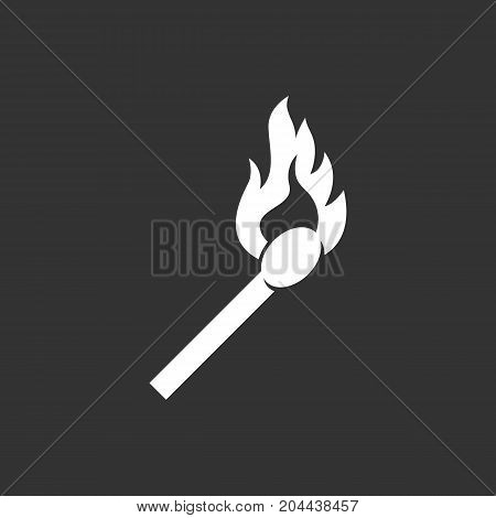 Burning match icon isolated on black background. Burning match vector logo. Flat design style. Modern vector pictogram for web graphics - stock vector