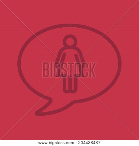 Conversation about woman linear icon. Chat bubble with girl inside. Thin line outline symbols on color background. Vector illustration