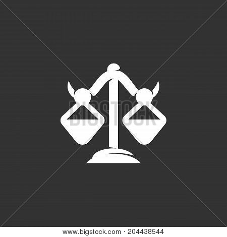Libra icon isolated on black background. Libra vector logo. Flat design style. Modern vector pictogram for web graphics - stock vector