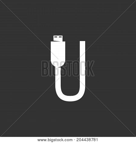 USB cable icon isolated on black background. USB cable vector logo. Flat design style. Modern vector pictogram for web graphics - stock vector