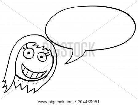 Cartoon Illustration Of Female Woman Head With Empty Speech Bubble