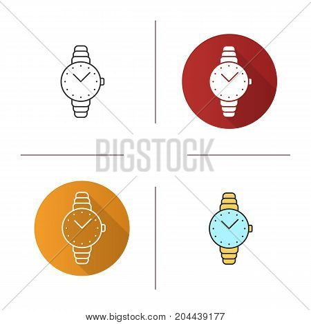 Women's wristwatch icon. Flat design, linear and color styles. Isolated vector illustrations