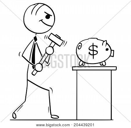 Cartoon Illustration Of Business Men With Hammer And Dollar Piggy Bank