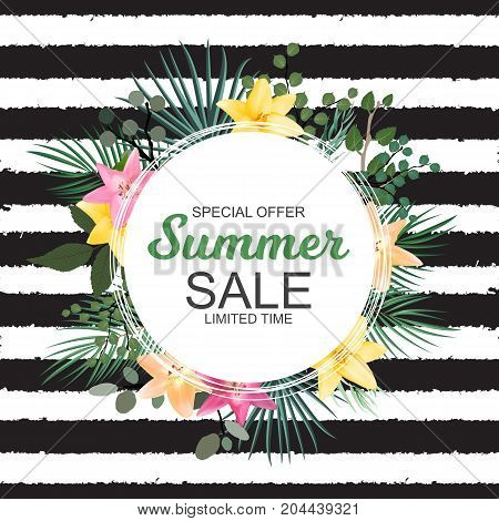 Summer Sale Banner with  Palm and other Leaves and Lily Flowers. Cute Natural Background Vector Illustration EPS10