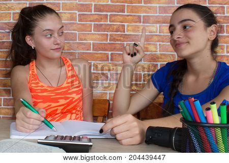 Two Girls work on his homework. Portrait of two pretty girls high school student studying