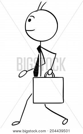 Cartoon Illustration Of Business Man Walking With Briefcase