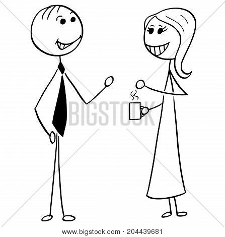 Cartoon Illustration Of Man And Woman Business People Talking Chatting