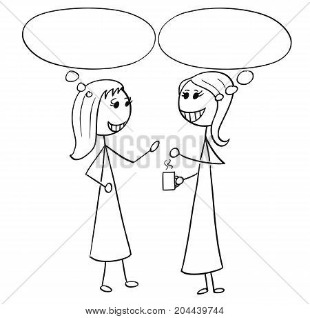Cartoon Illustration Of Two Women Business People Talking Chatting