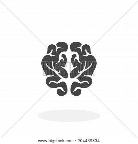 Brain icon isolated on white background. Brain vector logo. Flat design style. Modern vector pictogram for web graphics - stock vector