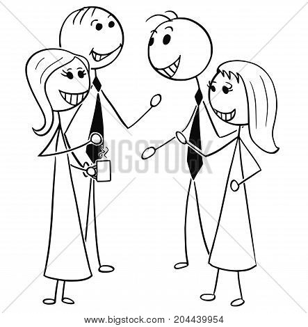 Cartoon Illustration Of Two Men And Women Business People Talking Chatting