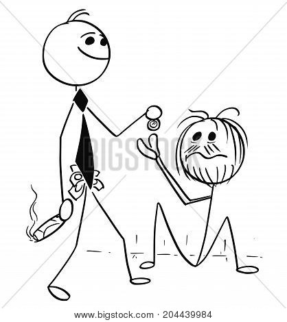 Cartoon Illustration Of Smiling Rich Business Man Giving Coin To Homeless Beggar