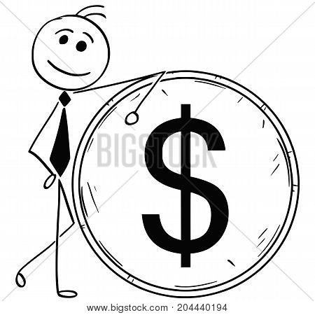 Cartoon Illustration Of Smiling Business Man Leaning On Large Dollar Coin