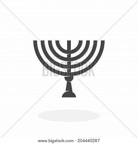 Happy Hanukkah icon isolated on white background. Happy Hanukkah vector logo. Flat design style. Menorah vector pictogram for web graphics - stock vector