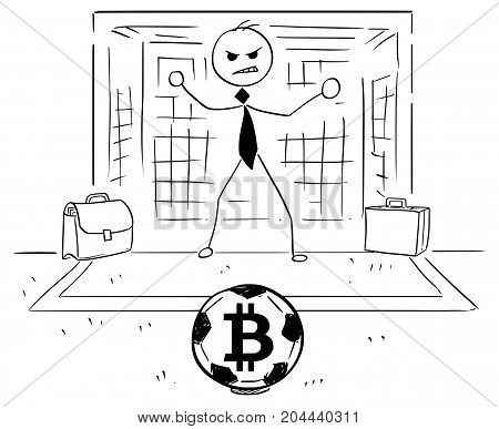 Cartoon Illustration Of Businessman As Soccer Football Goal Keeper Catching Bitcoin Ball
