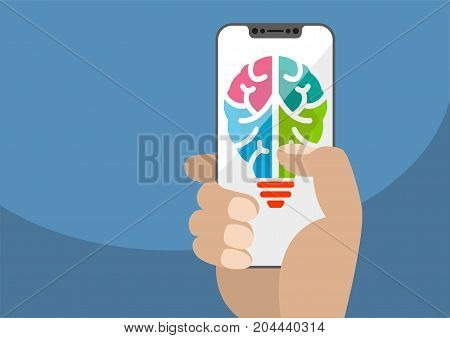 Symbol combining light bulb and brain displayed on frameless touchscreen. Hand holding modern bezel free smartphone. Concept for ideation, innovation and creativity. Illustration using flat design.