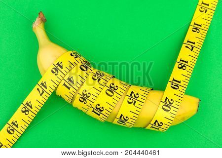 banana with centimeter, fitness, diet, vitamins, healthy food, fruit