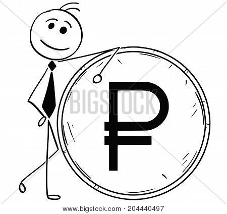 Cartoon Illustration Of Smiling Business Man Leaning On Large Ruble Coin