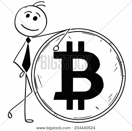 Cartoon Illustration Of Smiling Business Man Leaning On Large Bitcoin Coin
