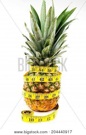 pineapple on white background, centimeter, sweet pineapple, diet