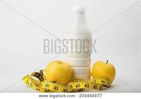 diet, fitness, sports nutrition, apple, centimeter, yogurt
