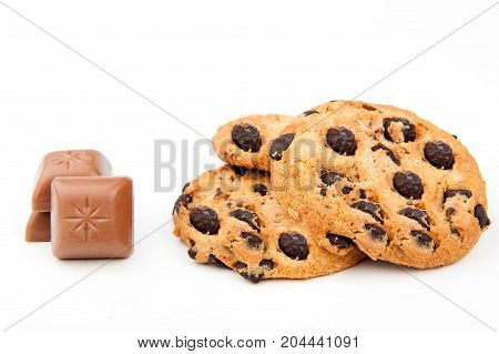 biscuits with chocolate on a white background, sweet biscuits