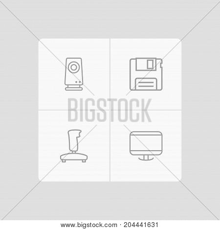 Collection Of Monitor, Gamepad, Floppy And Other Elements.  Set Of 4 Computer Outline Icons Set.