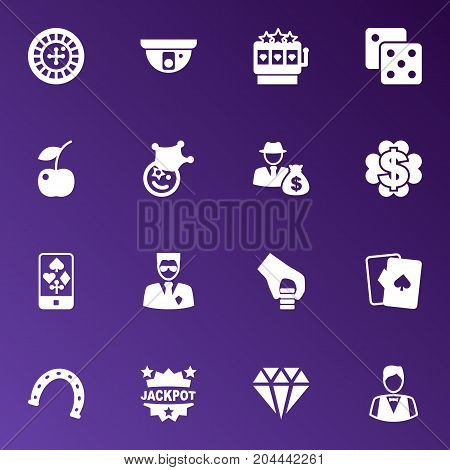 Collection Of Clown, Win, Brilliant And Other Elements.  Set Of 16 Casino Icons Set.