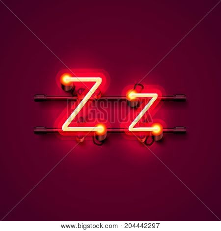 Neon font letter z, art design singboard. Vector illustration