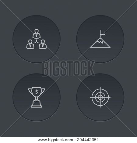 Collection Of Target, Achievement, Teamwork And Other Elements.  Set Of 4 Idea Outline Icons Set.