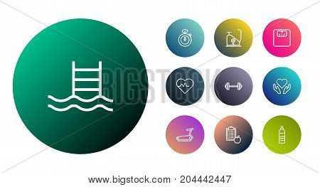 Collection Of Water Bottle, Scales, Diet And Other Elements.  Set Of 10 Training Outline Icons Set.