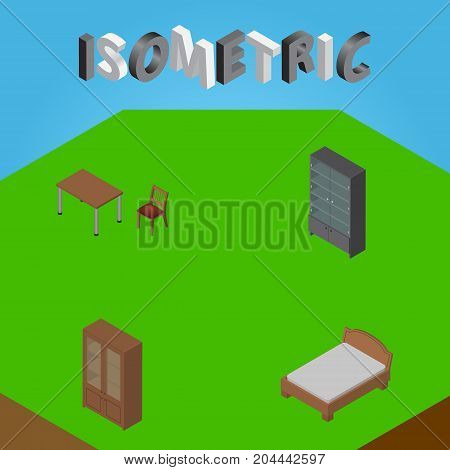Isometric Furniture Set Of Sideboard, Chair, Cabinet And Other Vector Objects