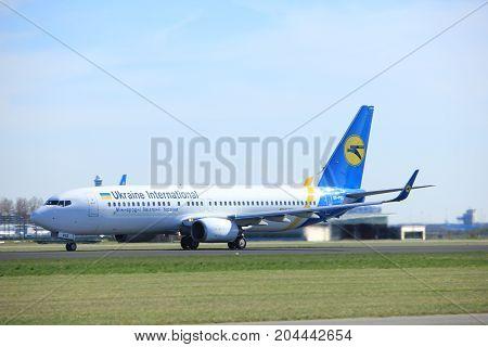 Amsterdam the Netherlands - March 25th 2017: UR-PSS Ukraine International Airlines Boeing 737-800 takeoff from Polderbaan runway.