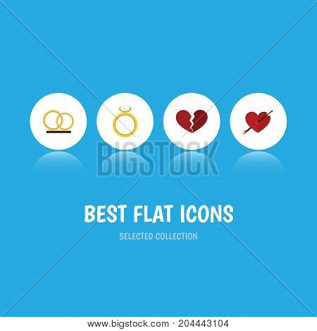 Flat Icon Love Set Of Heart, Engagement, Ring And Other Vector Objects