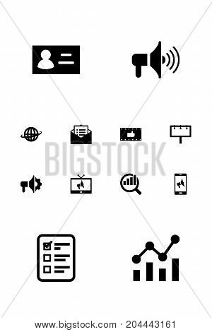 Collection Of Placard, Ads, Bullhorn And Other Elements.  Set Of 12 Advertising Icons Set.