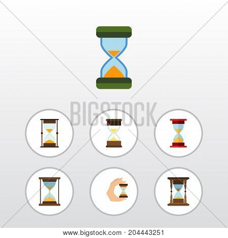 Flat Icon Sandglass Set Of Loading, Sand Timer, Measurement Vector Objects