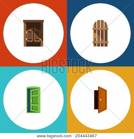 Flat Icon Approach Set Of Entry, Saloon, Frame And Other Vector Objects