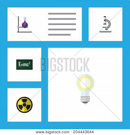 Flat Icon Study Set Of Lightbulb, Irradiation, Flask And Other Vector Objects