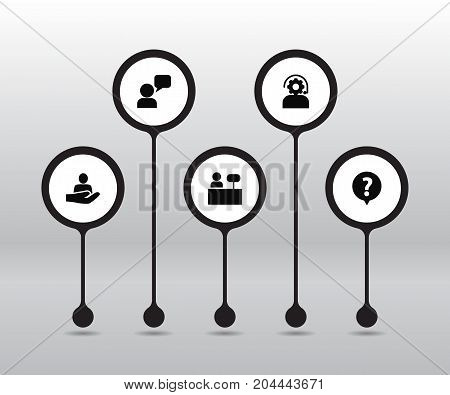 Collection Of Assistant, Help, Technical And Other Elements.  Set Of 5 Backing Icons Set.
