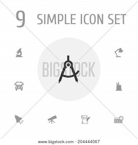 Collection Of Ringing, Autobus, Schedule And Other Elements.  Set Of 9 Knowledge Icons Set.