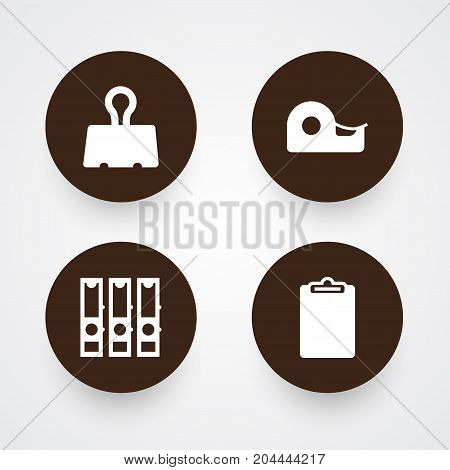 Collection Of Binder, Sticky, Information And Other Elements.  Set Of 4 Instruments Icons Set.