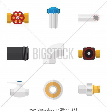 Flat Icon Industry Set Of Tube, Plastic, Roll And Other Vector Objects