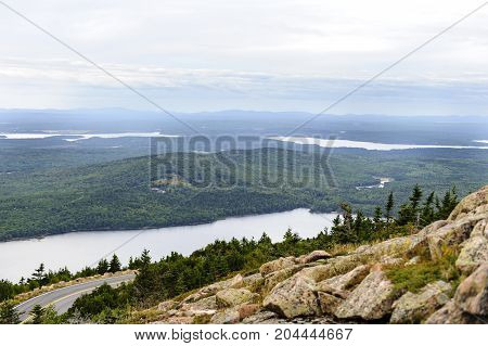 Overlooking Eagle Lake from Cadillac Mountain in Acadia National Park