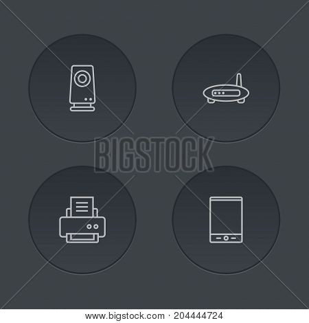 Collection Of Printer, Tablet, Modem And Other Elements.  Set Of 4 Computer Outline Icons Set.