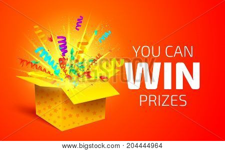 Open Yellow Box With Colorful Particles. You Can Win Prizes. Lottery Drawing Advertising Banner Temp