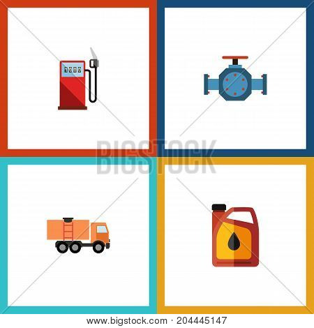 Flat Icon Oil Set Of Jerrycan, Flange, Van And Other Vector Objects